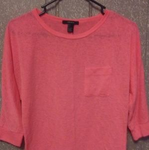 Forever 21 Hot Pink Mesh Overshirt With Pocket